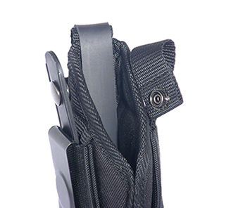 Leather lining leading edge of side holster